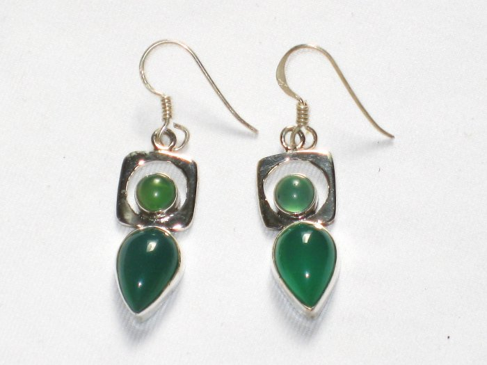 ER052 Malachite Earrings in Sterling Silver