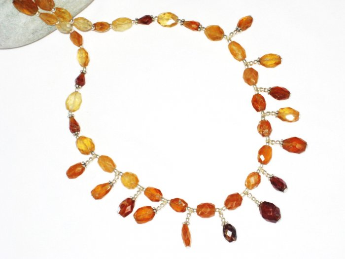 ST444 Citrine Necklace in Sterling Silver