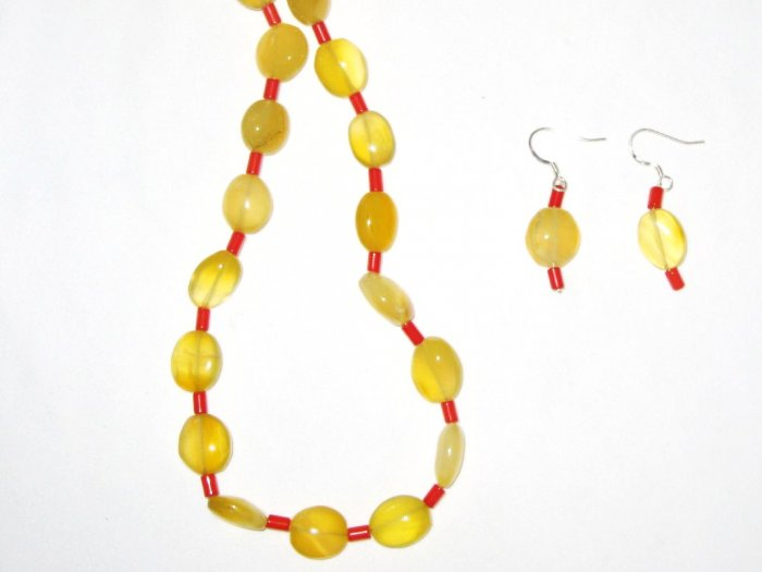ST467 Citrine and Coral Necklace and Earrings Set  in Sterling Silver