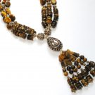 ST341 Tiger's Eye Necklace in Sterling Silver