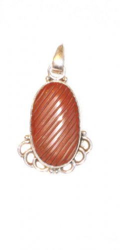 PN119 Carved Red Jasper Pendant
