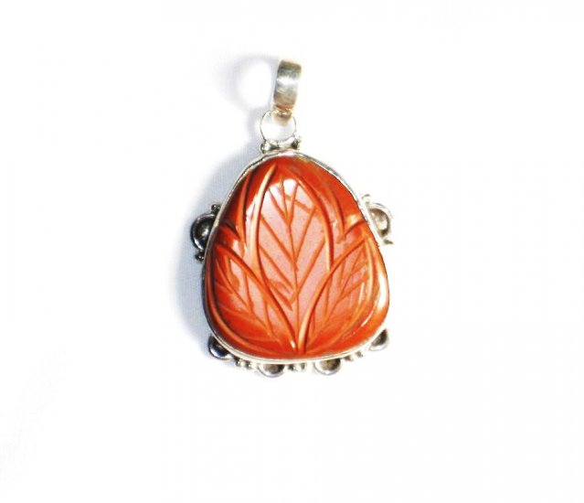 PN130 Carved Red Jasper Pendant