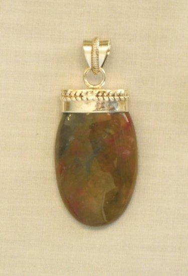 PN405 Unakite Pendant in Sterling Silver