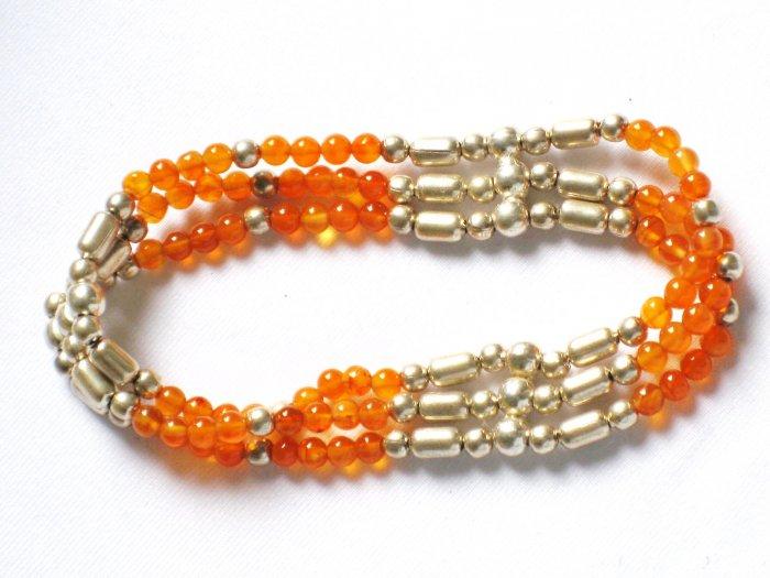 ST021 Carnelian Bracelet in Sterling Silver