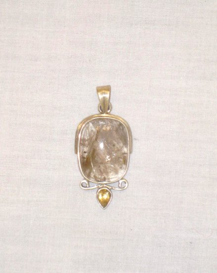 PN396 Amber Pendant in Sterling Silver