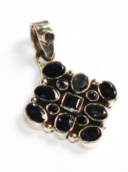 ST230       Blue Cuboc Zirconia Pendant in Sterling Silver