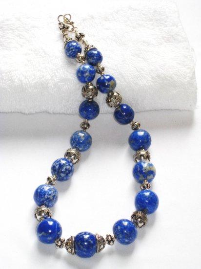 ST046     Blue Jasper Necklace in Sterling Silver
