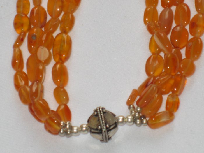 ST100 Carnelian Necklace in Sterling Silver