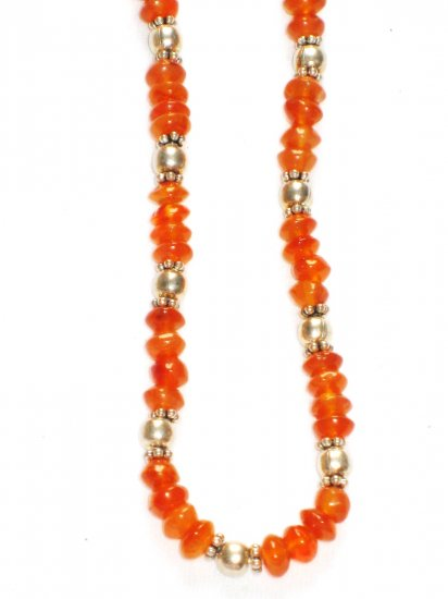 ST159 Carnelian Necklace in Sterling Silver