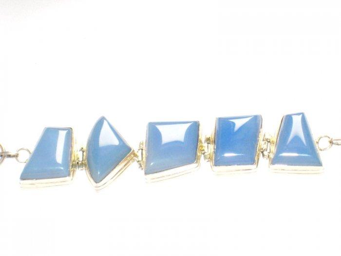 ST155       Chalcedony Bracelet in Sterling Silver