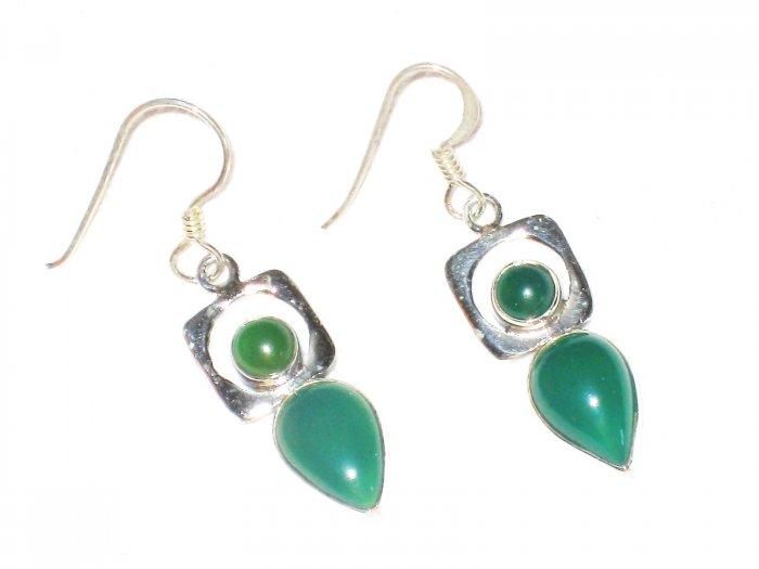 ST387      Green Onyx Earrings in Sterling Silver