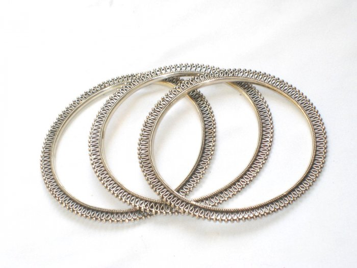 AQ179     Antique Silver Bangles in Sterling Silver