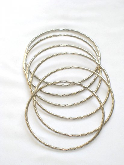 AQ180     Antique Silver Bangles in Sterling Silver - Set of Six