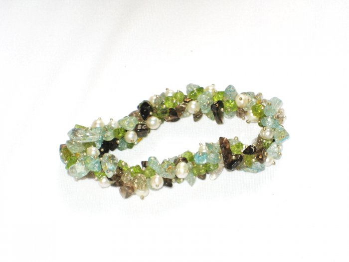 ST142       Mixed Stones Bracelet in Sterling Silver
