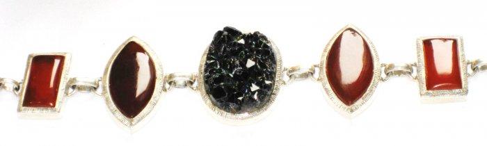 ST156       Lava, Carnelian Bracelet in Sterling Silver