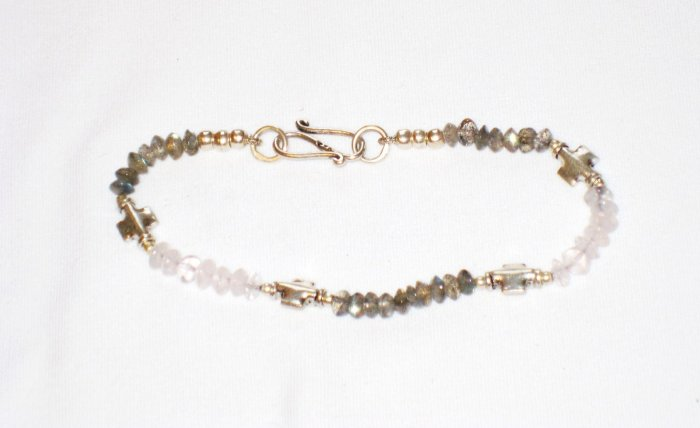 ST166       Labradorite and Moonstone Bracelet  in Sterling Silver