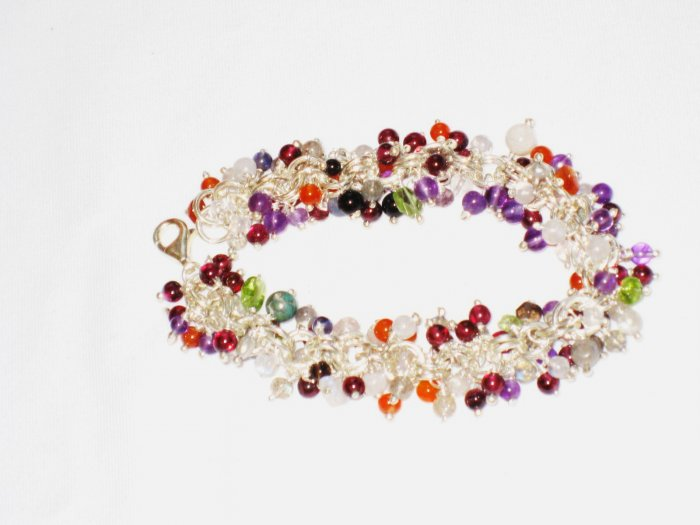 ST167       Mixed Stones Bracelet in Sterling Silver