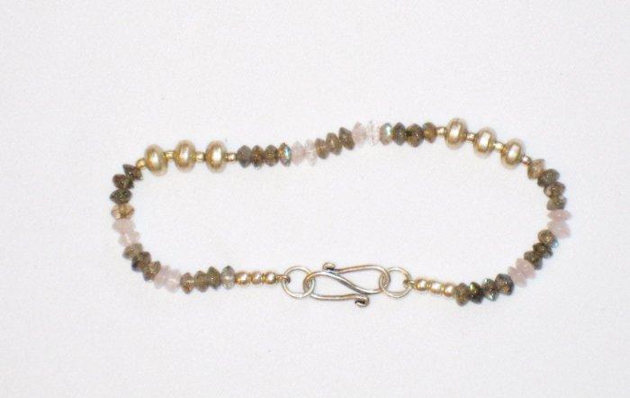 ST180       Moonstone and Labradorite Bracelet in Sterling Silver