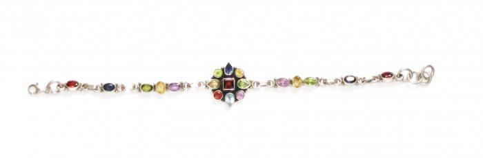 ST214       Cut Stone Mixed Stones Bracelet in Sterling Silver
