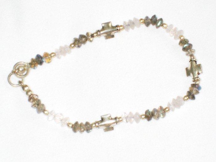 ST652       Moonstone and Labradorite  Bracelet in Sterling Silver
