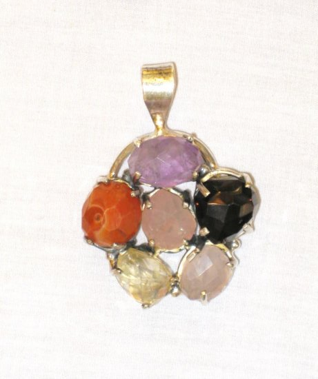 PN386       Mixed Stones Pendant in Sterling Silver