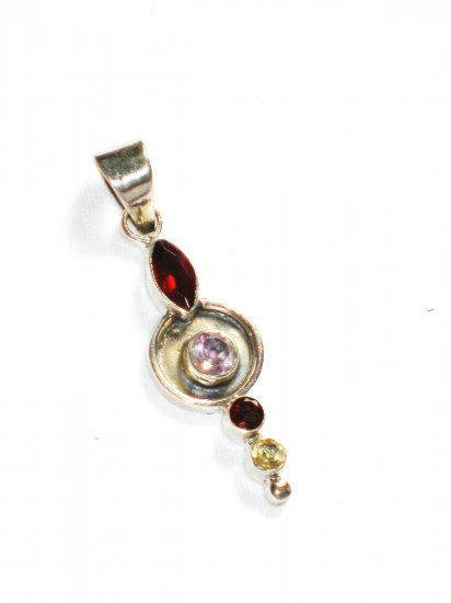 ST219       Cut Stone Garnet, Amethyst and Citrine  Pendant in Sterling Silver - SOLD OUT