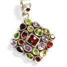 ST240       Cut Stone Mixed Stones Pendant in Sterling Silver