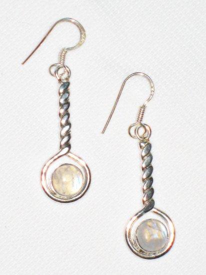 ST390       Moonstone  Earrings in Sterling Silver