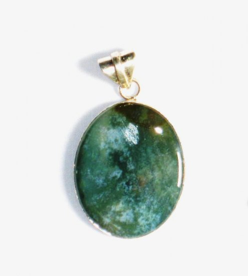 PN165       Moss Agate Pendant in Sterling Silver