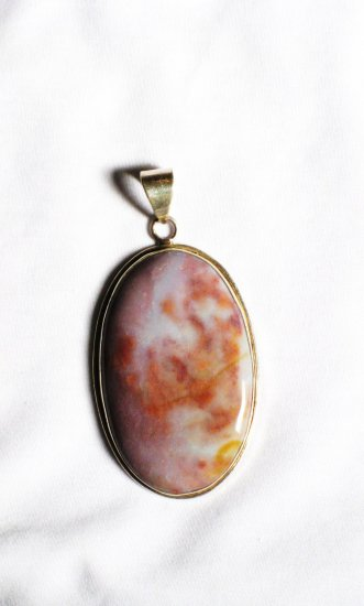 PN226       Moss Agate Pendant in Sterling Silver