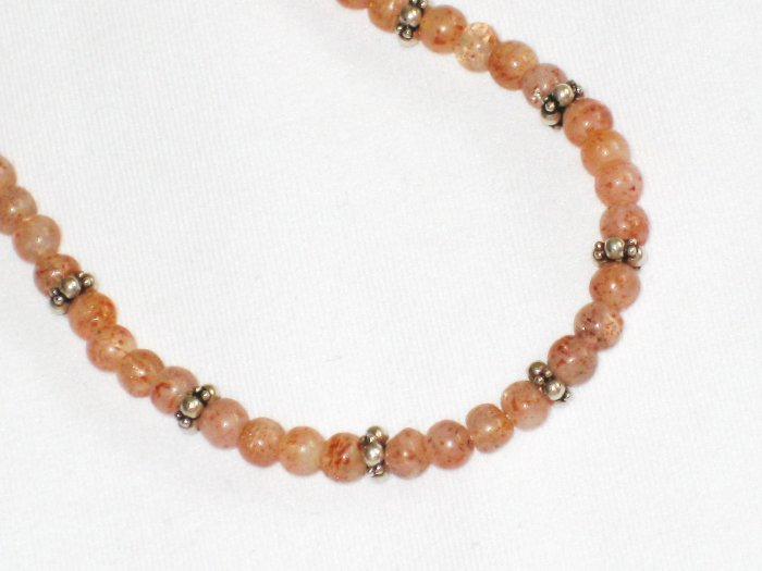 ST653       Pink Opal  Necklace in Sterling Silver