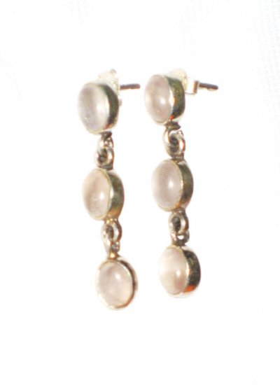 ST393       Rose Quartz  Earrings in Sterling Silver
