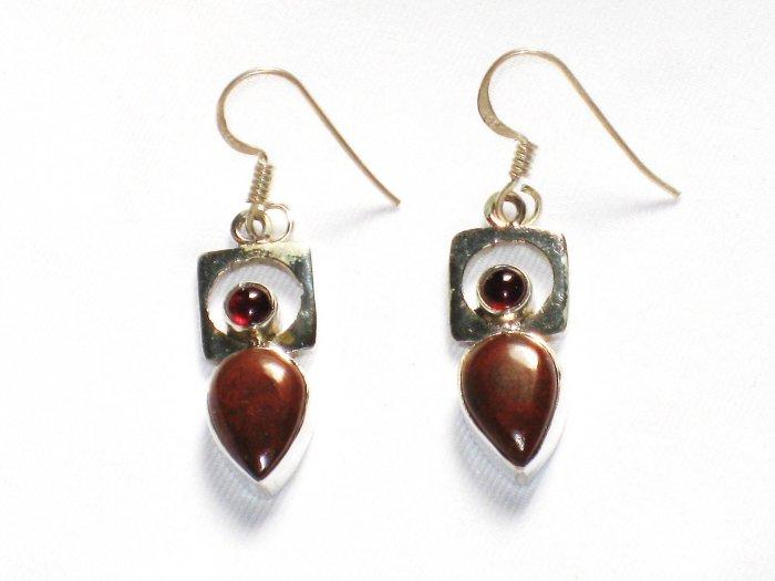 ER053       Red Jasper Earrings in Sterling Silver