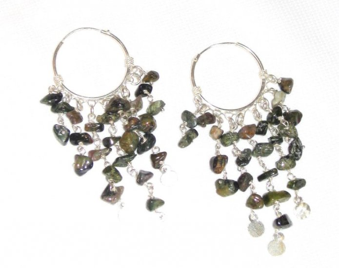 ST383       Mixed Stones  Earrings in Sterling Silver