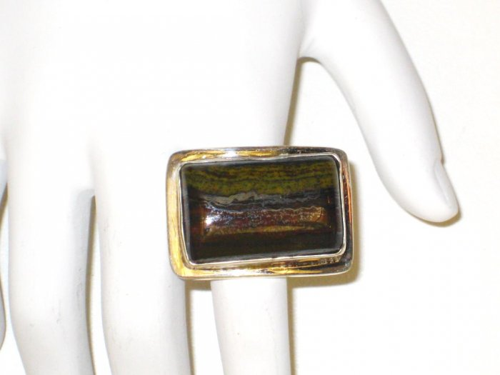 RG013 - Agate Ring in Sterling Silver - Size 11