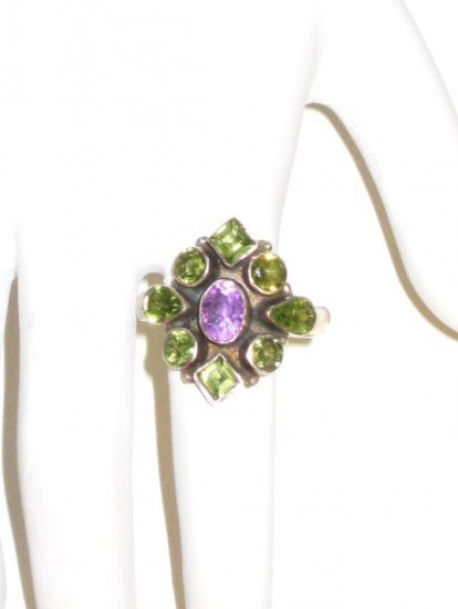 RG008       Peridot and Amethyst Ring in Sterling Silver
