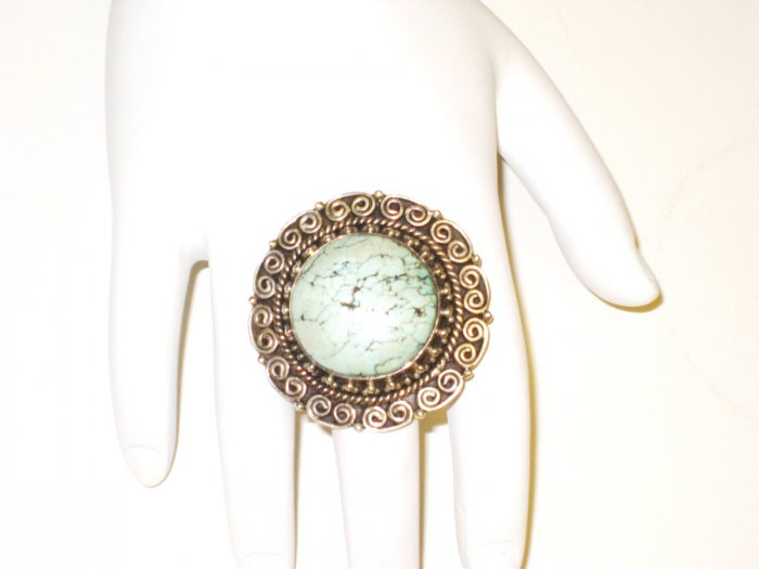 RG006       Turquoise Ring in Sterling Silver, Size 6