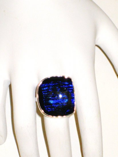 RG055       Dichroic Glass Ring in Sterling Silver
