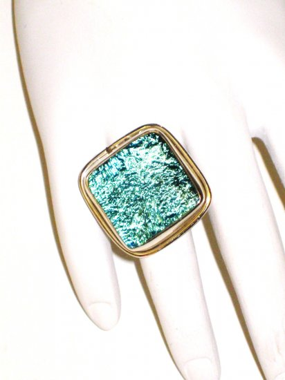 RG057       Dichroic Glass Ring in Sterling Silver