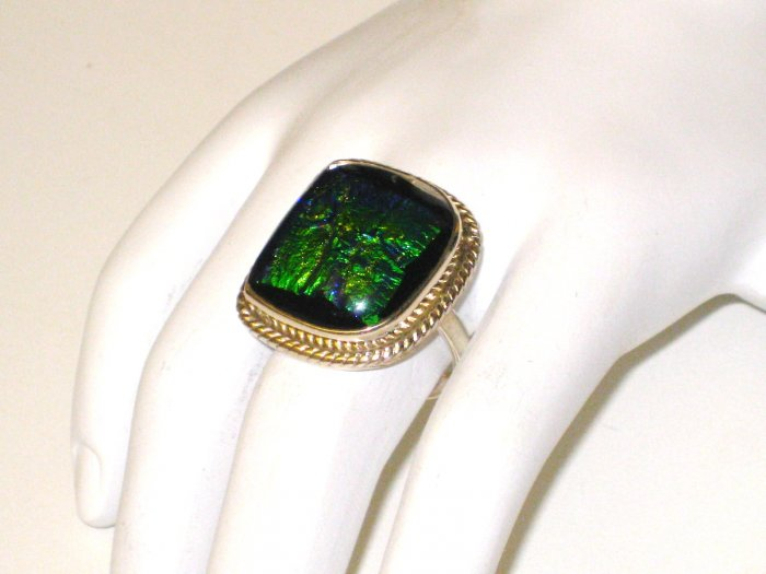 RG058       Dichroic Glass Ring in Sterling Silver