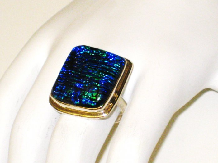 RG061       Dichroic Glass Ring in Sterling Silver
