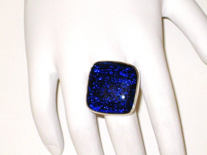 RG062       Dichroic Glass Ring in Sterling Silver
