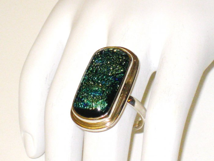RG063       Dichroic Glass Ring in Sterling Silver