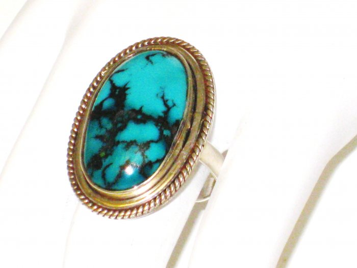 RG090       Turquoise Ring in Sterling Silver, Size 7