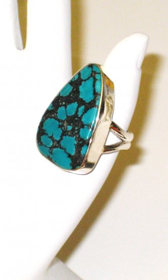 RG101       Turquoise Ring in Sterling Silver, Size 7
