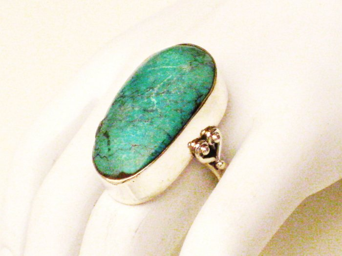 RG115       Turquoise Ring in Sterling Silver, Size 7