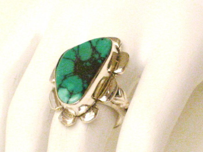 RG128       Turquoise Ring in Sterling Silver, Size 7