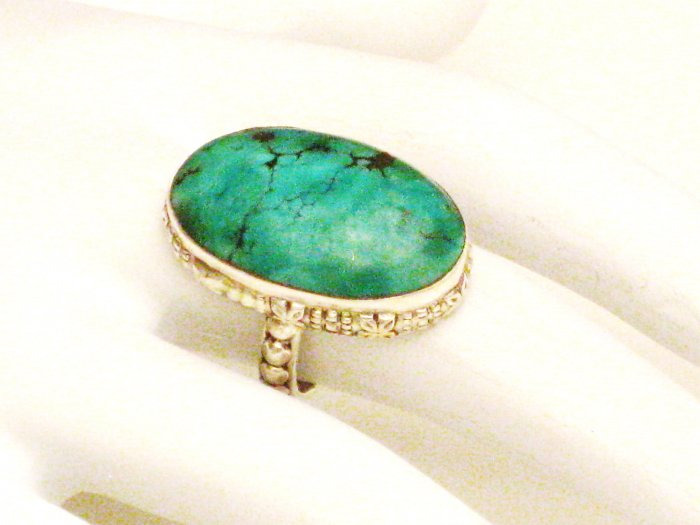 RG131       Turquoise Ring in Sterling Silver, Size 7