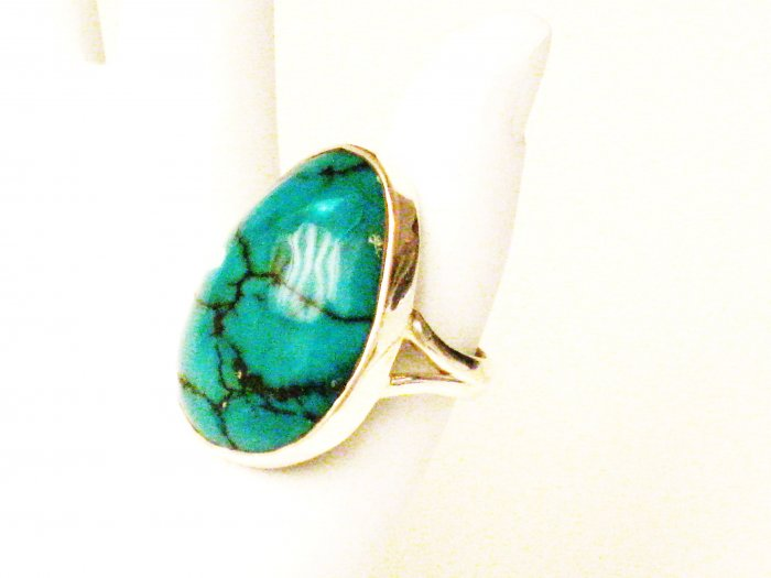 RG134       Turquoise Ring in Sterling Silver, Size 7