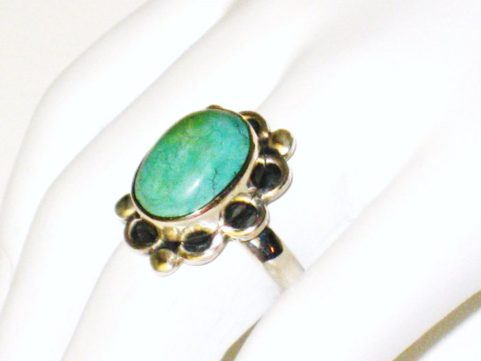 RG086       Turquoise Ring in Sterling Silver, Size 8
